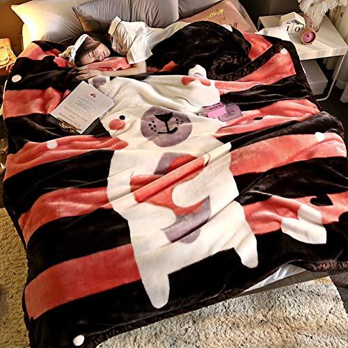 DULPLAY コーラル フリース 毛布, ぬいぐるみ ベッドの毛布 コーラル 超ソフトで暖かい 両面ファジィ スロー すべての季節のため -N 180x220cm(71x87inch)