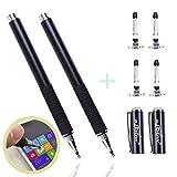 aibow タッチペン スマートフォン タブレット スタイラスペン iPad iPhone Android 2本+ペン先4個 (ブラック)