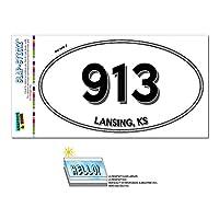 913 - ランシング, KS - カンザス - 楕円形市外局番ステッカー
