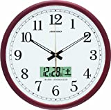 ADESSO(アデッソ) 電波壁掛け時計 デジタルカレンダー表示付き ブラウン AD-403M