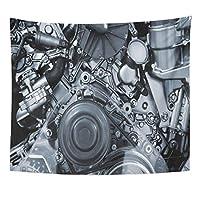 "varyhomeタペストリーシルバー車メタリック内燃エンジンの自動修復ホームインテリア壁かけのリビングルームベッドルームの寮 50"" x 60"" グレー"
