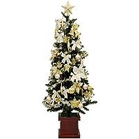 クリスマスツリーセット 飾り LED電飾付 木製ポット付スリム グリーン 緑 180cm 1.8m ゴールド アイボリー 金/白の豪華な装飾 クリスマス2016 Xmas 北欧