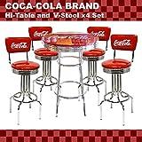 【セットでお得】★アメリカンバー COCA-COLA BRAND コカコーラブランド ハイテーブル&V-スツール×4脚セット(PJ-200T、PJ-210SS×4)