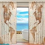 alireaワールドマップレトロチュールポリエステルドアボイルウィンドウカーテン薄手のカーテンパネルの寝室装飾リビングルームドレープ、55x 84インチ、2パネルセット 55x84x2(in)