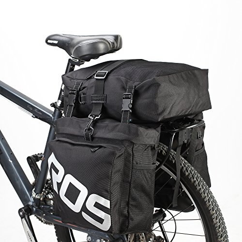 ArcEnCiel 自転車サイドバッグ 多機能リアバッグ 収納力抜群 リアサイドバッグ 防水カバー付き ブラック
