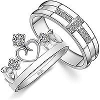 CCANDTT ペアリング カップル リング シルバー925純銀製 婚約指輪 オープンリング フリーサイズ 「You are my Princess」ダイヤモンド付き キラキラ 結婚指輪2個セット