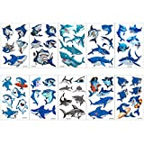 Biubee 30 Sheets Shark Temporary Tattoos, 162 Pcs 54 Different Patterns Waterproof Ocean Shark Tattoo Body Stickers for Boy Girls Ocean Sea Themed Party Favor Baby Shower Party Bag Filler Supplies