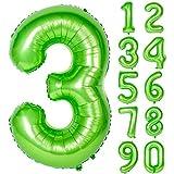 Angel&tribe 番号 0-9 誕生日 パーティー 装飾 ヘリウム 箔 マイラー 大きい 番号 バルーン 40インチ グリーン 番号3