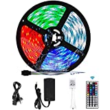 RGB LED Strip Lights, VIPMOON 5M/16.4ft 300LEDs SMD 5050 Waterproof LED Strip with 44-Key RF Controller Color Changing Rope L