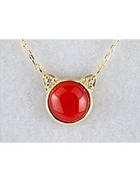 日本産 赤 珊瑚 サンゴ 猫 ネコ プチネックレス 18k イエロー ゴールド ダイヤモンド プレゼント 御守り 記念日 3月誕生石