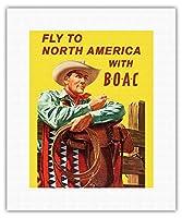 北米に飛びます - BOACと(英国海外航空株式会社) - ビンテージな航空会社のポスター によって作成された ヘイズ c.1953 - キャンバスアート - 28cm x 36cm キャンバスアート(ロール)