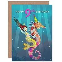 Mermaid Seahorse Birthday 9th Greetings Card マーメイド