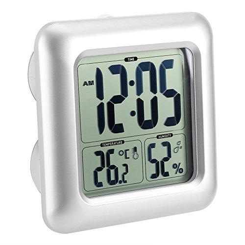 防水時計 デジタル温湿度計 シャワー時計 大画面 液晶 吸盤 壁掛け スタンド 置き時計 防水クロック 温度計 湿度計 防滴 防水 風呂 浴室