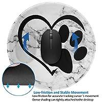 マウスパッド丸型 柔軟 ゴム製裏面 ゲーミングマウスパッド PC ノートパソコン オフィス用 円形 デスクマット 滑り止め 足猫犬動物心臓大理石