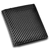 CRESTIA 二つ折り 財布 メンズ 一万円札がスっと入る ボックスタイプ 小銭入れ 薄型 コンパクト 全5色 (カーボンレザー(ブラック))