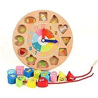 ベビーおもちゃ、子供の教育玩具、脳を発達させる 子供の善意の木製デジタルレーシングおもちゃクリエイティブクロックビッグブロック赤ちゃんビーズゲーム