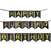 Funpa ガーランド 誕生日 お祝い パーティー 掛け飾り アクセサリー 黒 ゴールド 紙