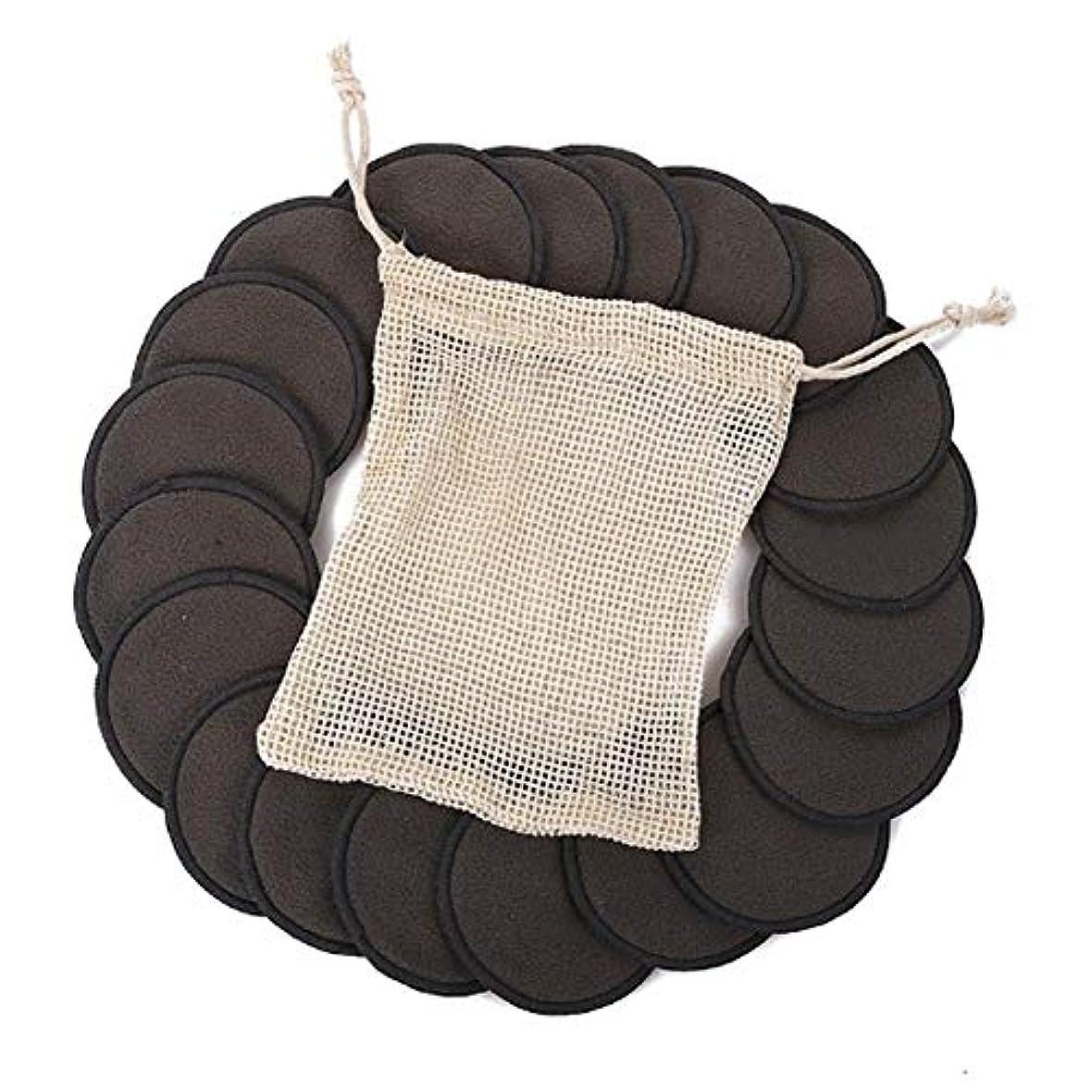 建築家パッチボックス綿のパッド、顔の目のための12PCS構造の取り外しの綿のパッドの再使用可能なタケ繊維の洗濯できる円形のパッド