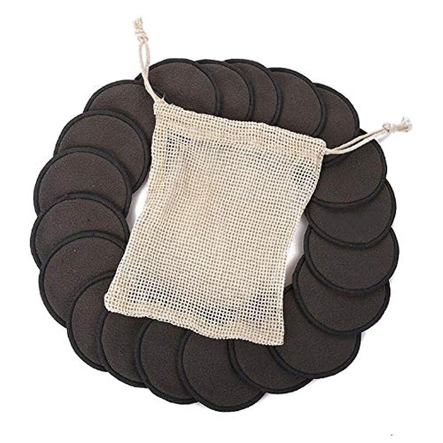 タック肩をすくめるのれん綿のパッド、顔の目のための12PCS構造の取り外しの綿のパッドの再使用可能なタケ繊維の洗濯できる円形のパッド