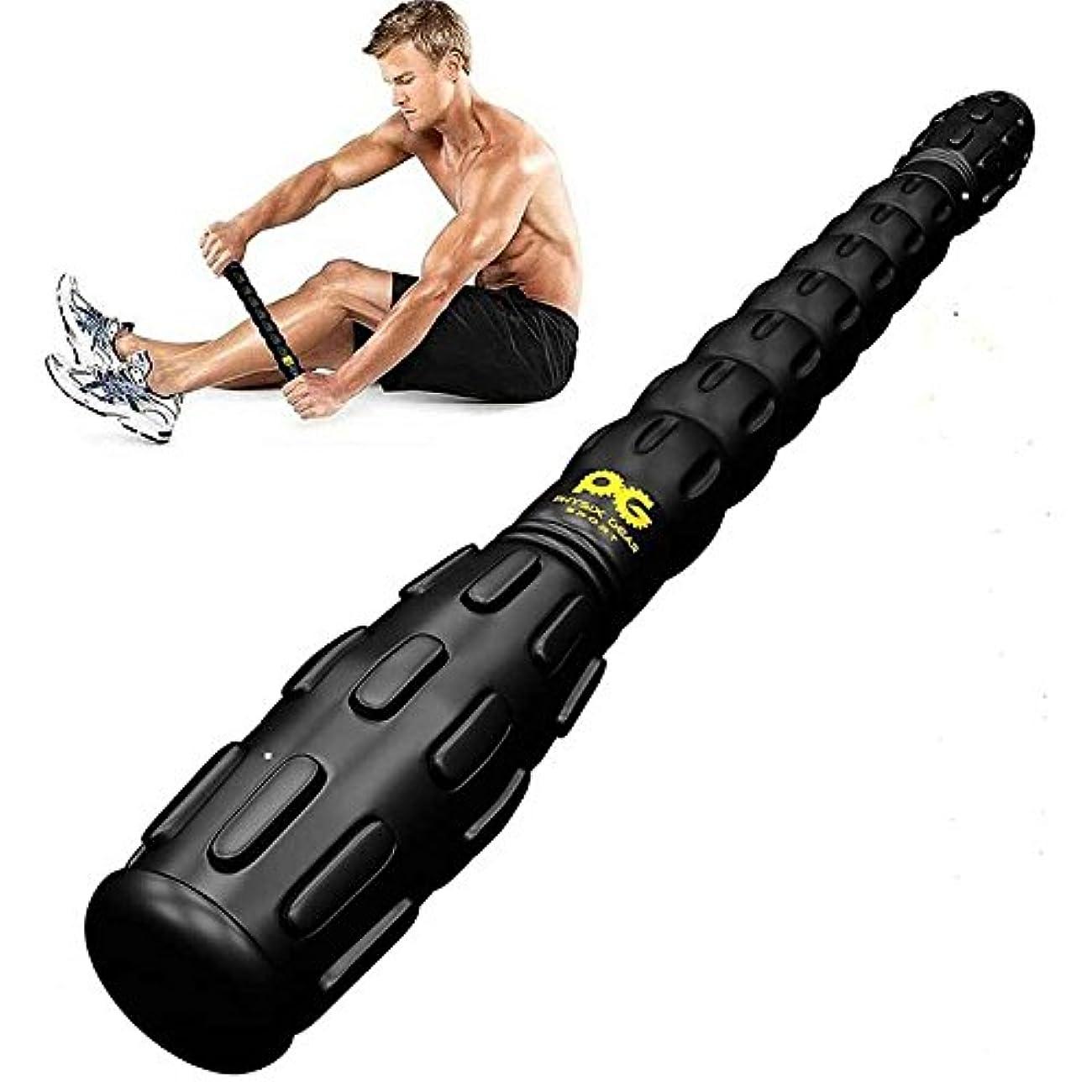 合成甘い採用するLiebeye ポータブル 筋肉マッサージスティック マニュアルローラー マッサージャー痛みの筋肉を解放する 脚の回復 ブラック