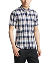 Short Sleeve Linen Cotton Madras Buttondown Shirt 1216-149-0831: Navy