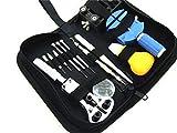 腕時計工具13点セット/時計ケース固定器(黒色)プラスチック製青色ピン抜き器き/説明書付属/バンド調整プラスチック製ピン抜き付
