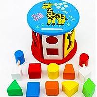 HuaQingPiJu-JP 子供のための色の木製の幾何学的なソートボックス教育形状色認識玩具