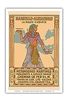 マルセイユ - アレクサンドリア - エジプトのルート - パリ・リヨン・メディテラネ鉄道(PLM) - 海上宅配便 - ビンテージな鉄道旅行のポスター によって作成された J.ダビエル c.1927 - アートポスター - 31cm x 46cm