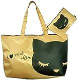 アディクト 猫のトートバッグ おすましプーちゃん かくれんぼプーちゃん収納トート ベージュ P131143-21