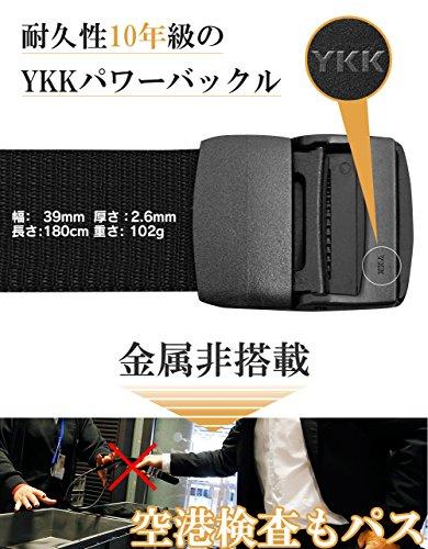 Riorune ナイロンベルト メンズ ベルト カジュアル布ベルト ウエストベルト (ブラック)