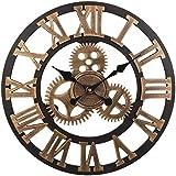 ヴィンテージ時計ローマ数字レトロホイールギア家の装飾高級アート木製の大きな壁掛け時計(32インチ、ゴールド),32inch