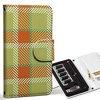 スマコレ ploom TECH プルームテック 専用 レザーケース 手帳型 タバコ ケース カバー 合皮 ケース カバー 収納 プルームケース デザイン 革 チェック・ボーダー チェック 緑 オレンジ 004112