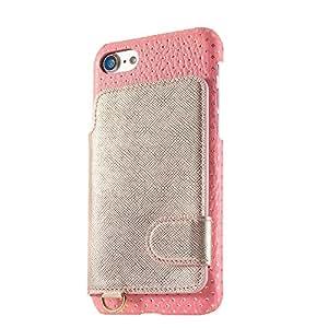 [RAKUNI×modaMania] iPhone 8 / iPhone 7 背面ポケットケース ラクニ【 ソフィア / ピンク×ゴールド 】本革 レザー アイフォンカバー