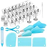 Kootek 42-Piece Cake Decorating Supplies Sets with Icing Tips, Pastry Bags, Icing Smoother, Piping Nozzles Coupler, Flower Nails, Decorating Pen, Flower Lifter for Cake Decoration Baking Tools