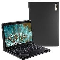 NavitechブラックRealレザーフォリオケースカバースリーブfor the Lenovo ThinkPad x1Carbon 14インチ