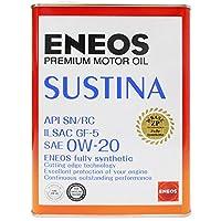 ENEOS (エネオス) SUSTINA (サスティナ) エンジンオイル 0W-20 SN/RC/GF-5 100%化学合成油 4L缶 (1)