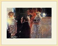 クリムト・「ピアノを弾くシューベルト」 プリキャンバス複製画・ 額付き(デッサン額/大衣サイズ/木地色)