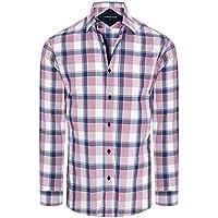 Tarocash Men's Kostner Large Check Shirt Regular Fit Long Sleeve Sizes XS-5XL for Going Out Smart Occasionwear Pink