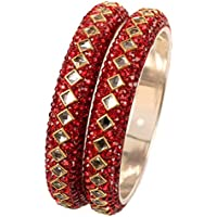 Touchstone Colorful Bangle Collection Square Shape Faceted Kundan Look Lipstick Red Beads Indian Bollywood Designer Jewelry Metal Bangle Bracelets in Antique Gold Tone for Women Set of 2