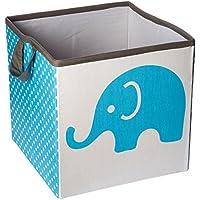 Bacati Elephants Storage Tote Basket, Aqua/Lime/Grey, Small by Bacati