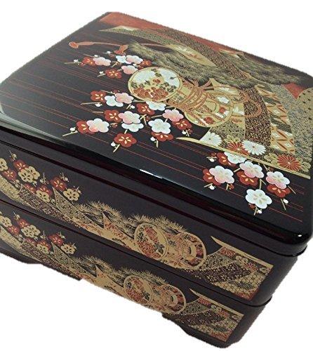 Kano(カノー) 4252 19cm 6.5 本重 2段 黒 小槌 / 重箱・弁当箱