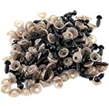 100pcs 6/9/10/12MM Plastic Safety Eyes with Washers for Doll Making, DIY Craft Kit Clear Black Safety Eyes with Gasket Teddy Bear Felting Toys Doll Animal Crafts(9mm)