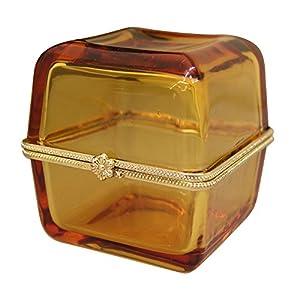 GLASS JEWELRY BOX Amber 1C-199-Amber