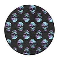 Space Skull Galaxy Round Floor Rug Doormats For Home Decorator Dining Room Bedroom Kitchen Bathroom Balcony 23.6 Inch フロアマット