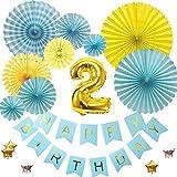 2歳バースデー デコレーションバルーンセット ブルー誕生日 豪華 飾り付け 数字風船 ペーパーファン ガーランド お祝い パーティー