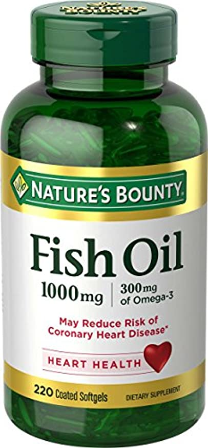苦しむ流暢はずNature's Bounty Fish Oil 1000 mg Omega-3, 220 Odorless Softgels 海外直送品