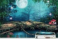 pigbangbang、29.5X 19.6インチ、Stainedアートパズルfor Kids Adult Have Jigsaw接着剤木製–Lake Forest Mushroom Magicalバタフライ–1000Piece