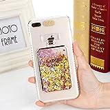 iPhone6/6s Plusケース カバー Huashine 可愛い 香水瓶 香水ボトル 着信 で 光る 多彩な流砂 スパンコール キラキラ パフューム 動く グリッター アイフォンケース 携帯ケース (iPhone 6/6S Plus, ゴールデン)