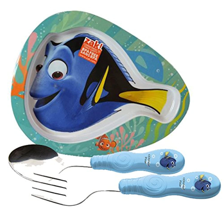 Zak 。Designs Kids Finding Dory魚型プレート&フォーク&スプーンFlatware Set 。BPAフリー、3ピースセット