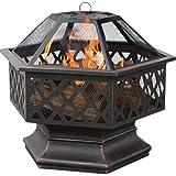 ユニフレーム 六角ラティス、オイルラビングブロンズの屋外用ボウル形暖炉